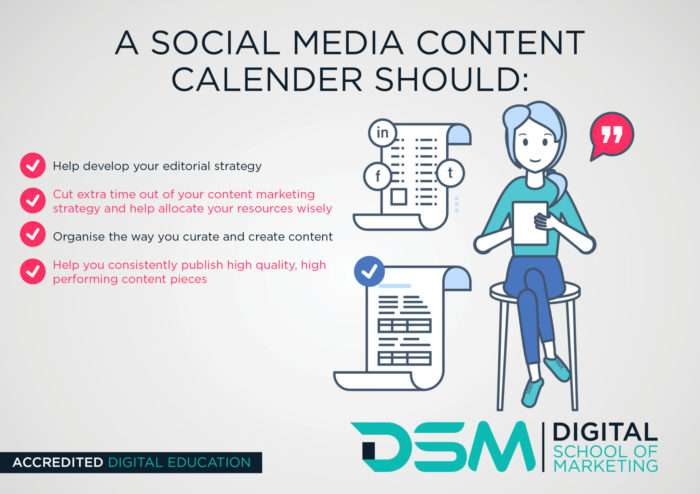 DSM Digital school of marketing - content calendar